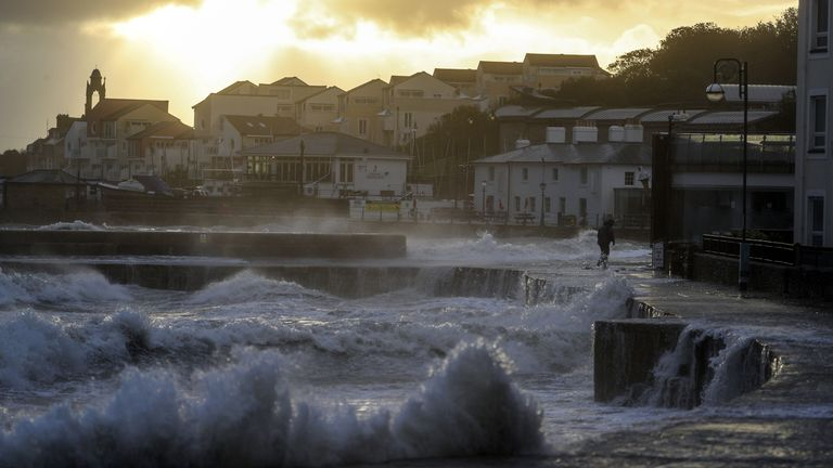 Autumn Weather October 2, 2020 Waves crash on the beach in Swansea in Dorset.  Some parts of the UK are preparing for heavy rains and high winds as storm Alex predicts bad weather over the weekend.