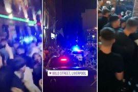 Footage on social media showed the large crowd in Liverpool's Concert Square after the 10pm curfew last night