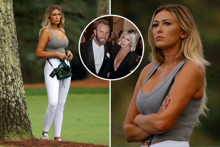 Dustin Johnson's fiance Paulina Gretzky shocked by low cut as she watches golf star victory at the Masters in Augusta