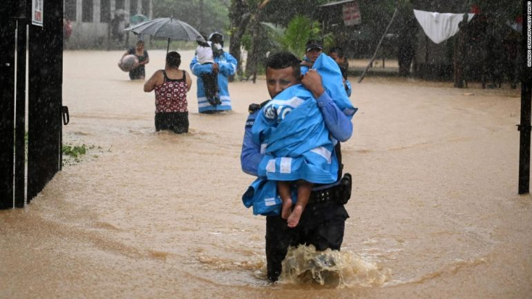 Etta was submerged in heavy flooding to Central America before heading towards the U.S. coast