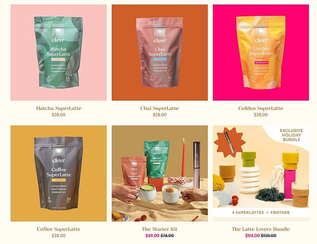 Some of the products sold on the Clever Blends website include 'Golden' Yellow 'Superlate' and 'Macha Superlate'