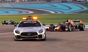 Drivers chase a safety car after Perez leaves the race