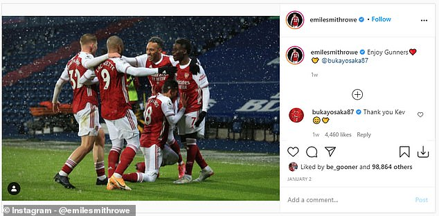 Bocayo Saka was the last player to mention this on Instagram after beating West Bromwich Albion