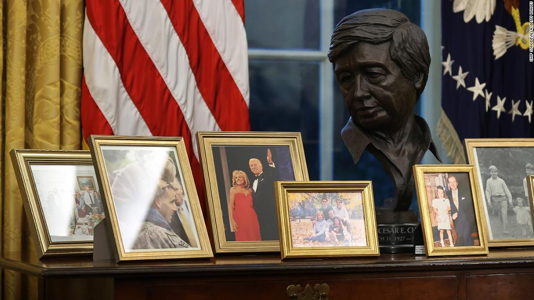 Caesar Chavez holds a special place in Joe Biden's office