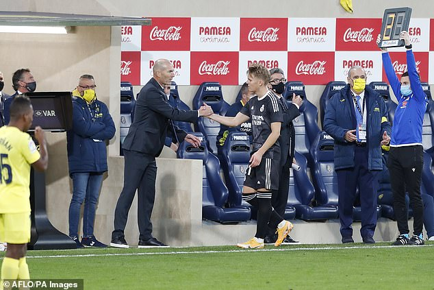 Zidane's relationship with Odegaard has been tense since he was Castia's coach - the duo were photographed during the tie with Villarreal last November.