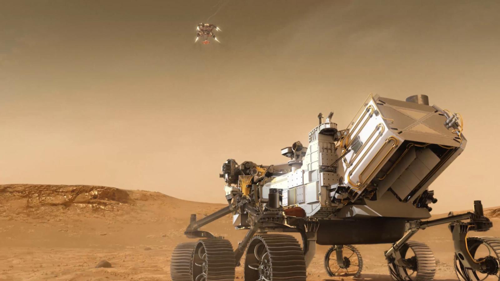How will the diligence spacecraft land on Mars?