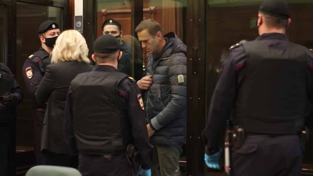 Alexei Navalny appears before a Russian court