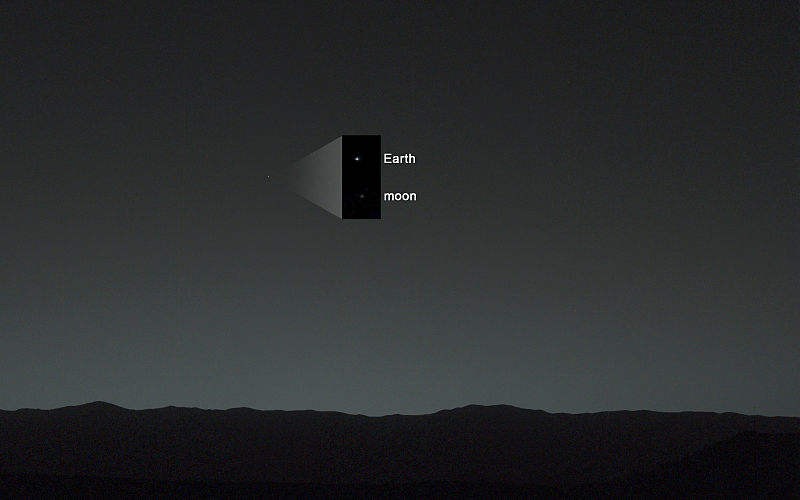 A dark landscape and a greenish sky with a small dot and an inner frame showing two points with the earth and the moon written on them.