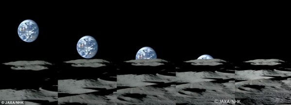 Five panels with a blue and white background approach the horizon and advance towards the final figure.