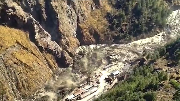 Floods of water, mud and debris pouring into the Chamuli region after a part of the Nanda Devi glacier collapsed in Tabuvan district, in the northern state of Uttarakhand, India.