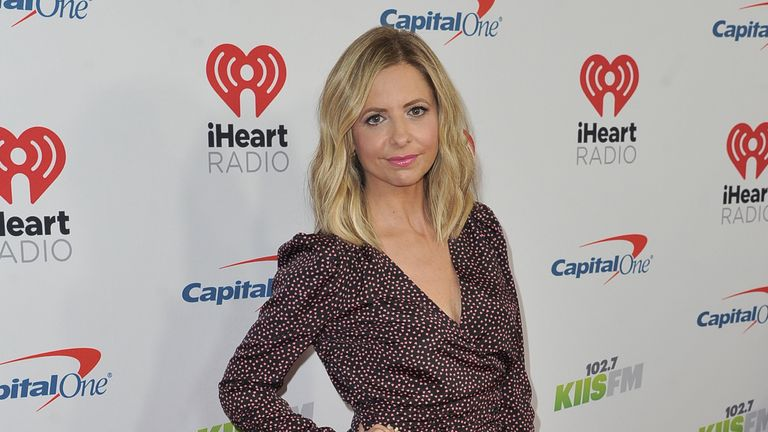Sarah Michelle Gellar arrives in Jingle Ball on Friday, December 6, 2019, at the Forum in Englewood, California (Photo by Richard Shotwell / Invision / Associated Press)