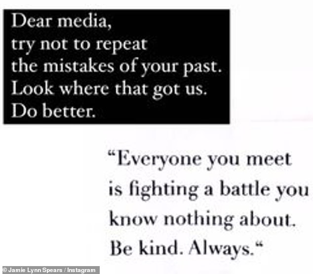 Do better: she reposted it later, adding her own words: 'Dear Media, try not to repeat the mistakes of your past.  See what this led to.  Be better '