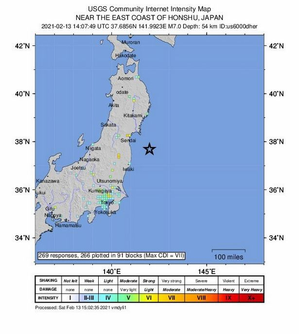 Seismic map of a 7.0-magnitude earthquake in Japan