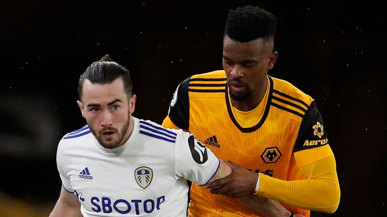 Jack Harrison of Leeds United has been suspended by Wolves defender Nelson Semedo