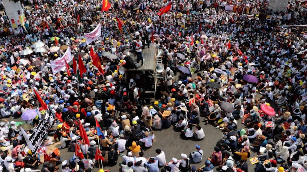 Protesters in Myanmar take to the streets without fear of the army