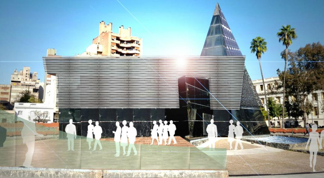 They are planning to build a co-working space with a bar in the glass pyramid of Plaza de la Intendencia