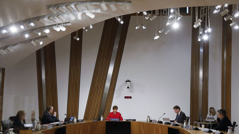The Scottish Parliament distributes a photograph of Prime Minister Nicola Sturgeon before evidence is given to the Committee on the Handling of Scottish Government Harassment Complaints, in Holyrood, Edinburgh, to examine the handling of harassment allegations against former Prime Minister Alex Salmond.  Picture date: Wednesday, March 3, 2021.
