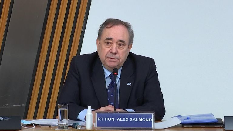 Former Prime Minister Alex Salmond appeared in an investigation into the Scottish Government's investigation of his harassment allegations.