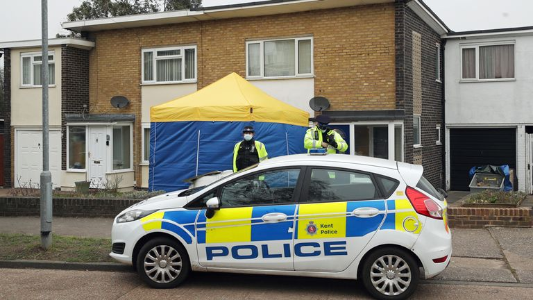 Police activity outside a home on Freemens Way in Dell, Kent