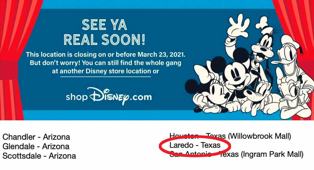 The Disney Store at Mall del Norte will be closed