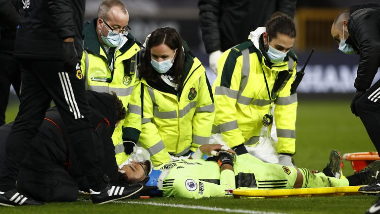 Wolverhampton goalkeeper Roy Patricio was injured during his team's match with Liverpool (Pennsylvania).