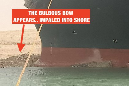 A picture showing where the ship ran aground.