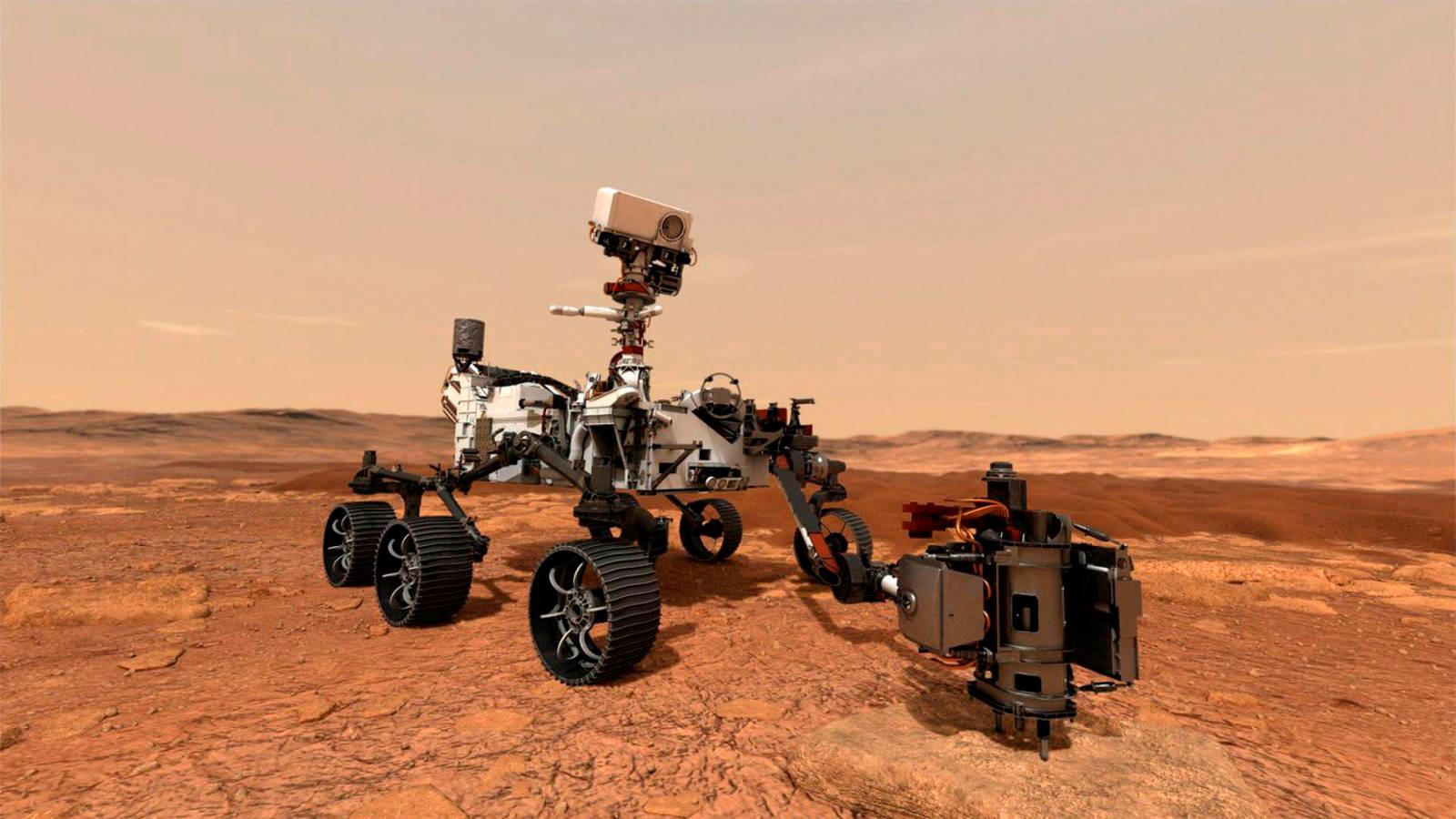 The diligent rover travels its first meter to the surface of Mars