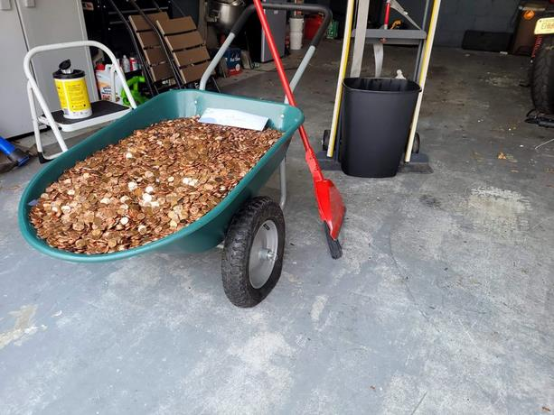 The man gets paid in pennies from the dollar