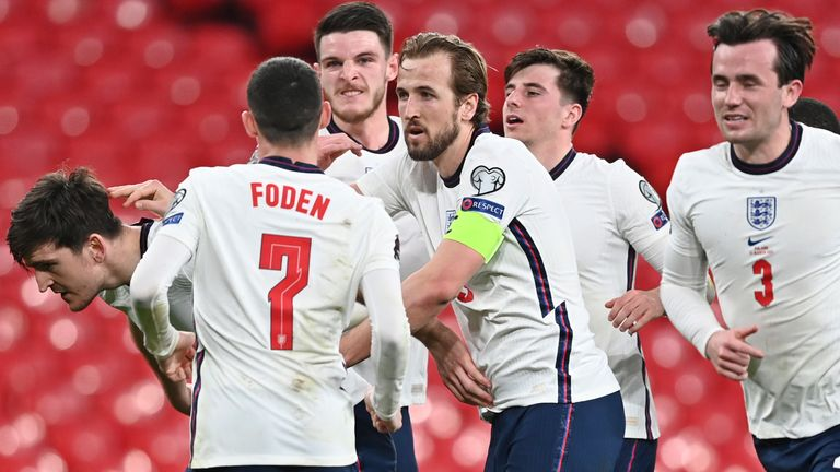 England players celebrate Harry Maguire's late goal against Poland