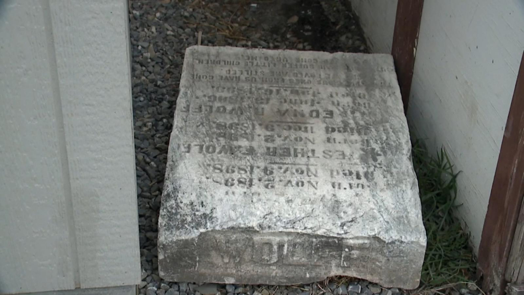 A woman finds a 19th-century tombstone for girls in her home