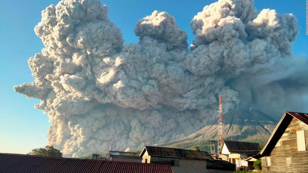 Eruption of Sinabung volcano in Indonesia