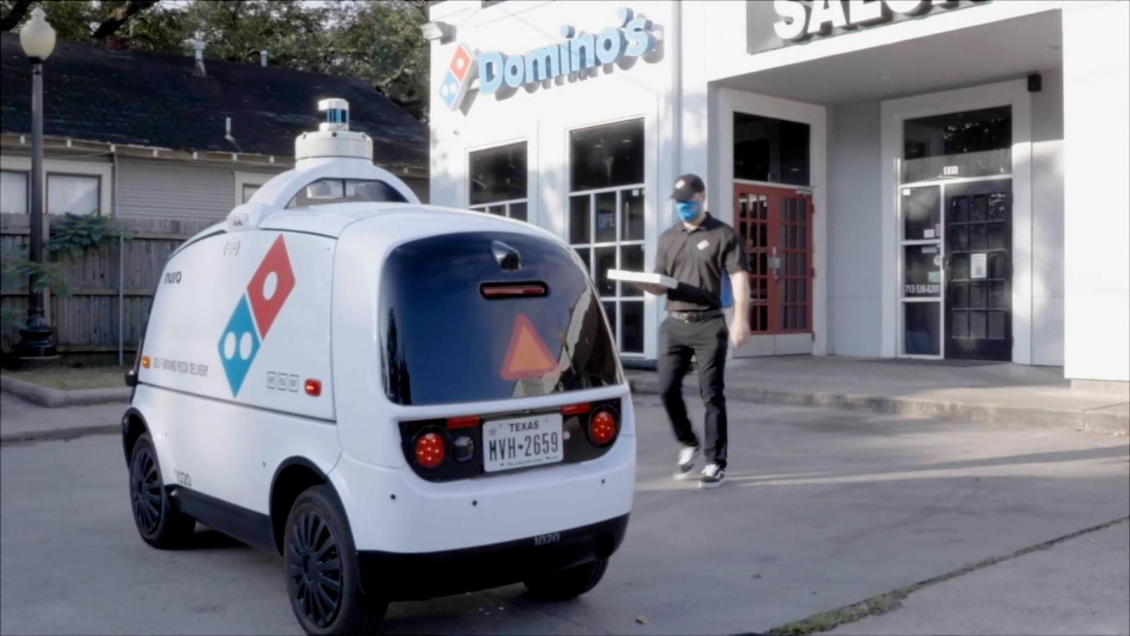 Domino's pizza delivery automated car |  Video