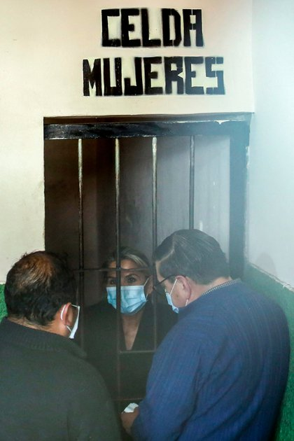Former president Janine Anez, detained in a prison in La Paz, Bolivia, on March 13, 2021 (AFP)