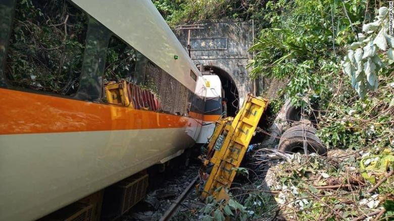 A train derailed in Taiwan