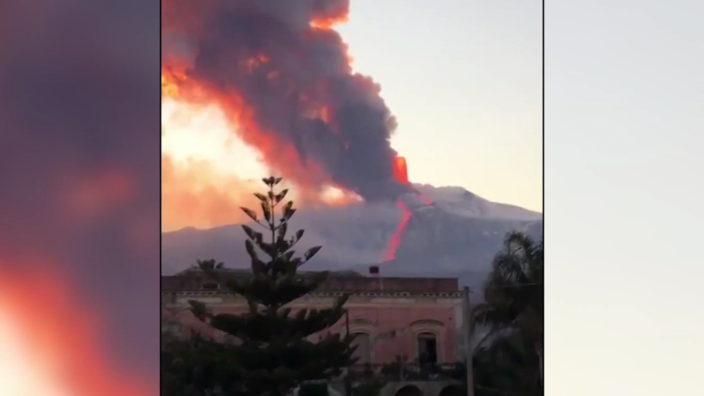 Amazing videos of the eruption of Mount Etna volcano in Italy