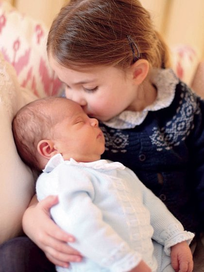 Princess Charlotte accepts her brother Prince Louis.  Photo taken by Kate Middleton.