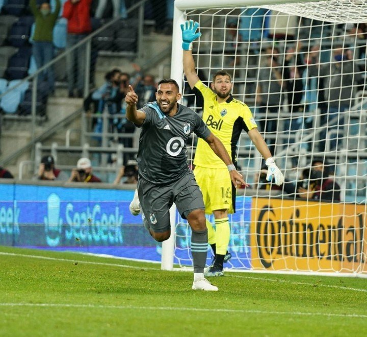 Celebrate Wanchop Abela after his first goal in MLS (Minnesota United Press).