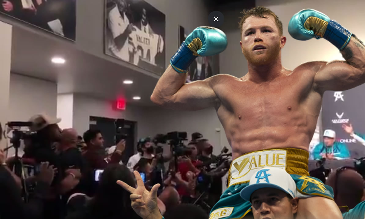 Canelo Alvarez rushed to Demetrius Andrade from his conference