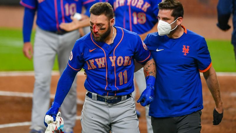 Kevin Pillar of the New York Mets suffered multiple nasal fractures