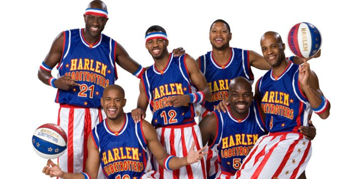 The Harlem Globetrotters, basketball and show in equal parts.