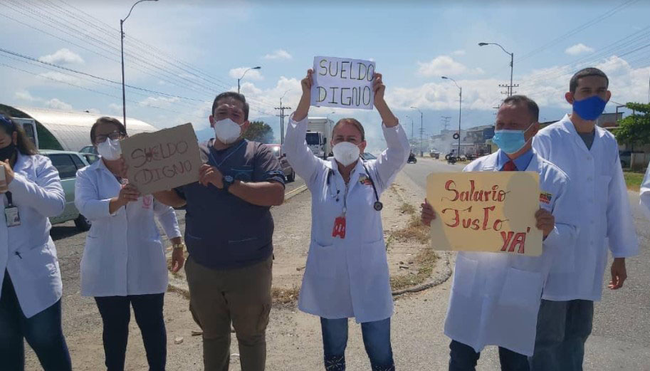 Health workers protested this #6th July in Los Andes