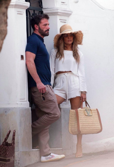 Jennifer Lopez in all white and Rafia and Ben Affleck on vacation together in Capri