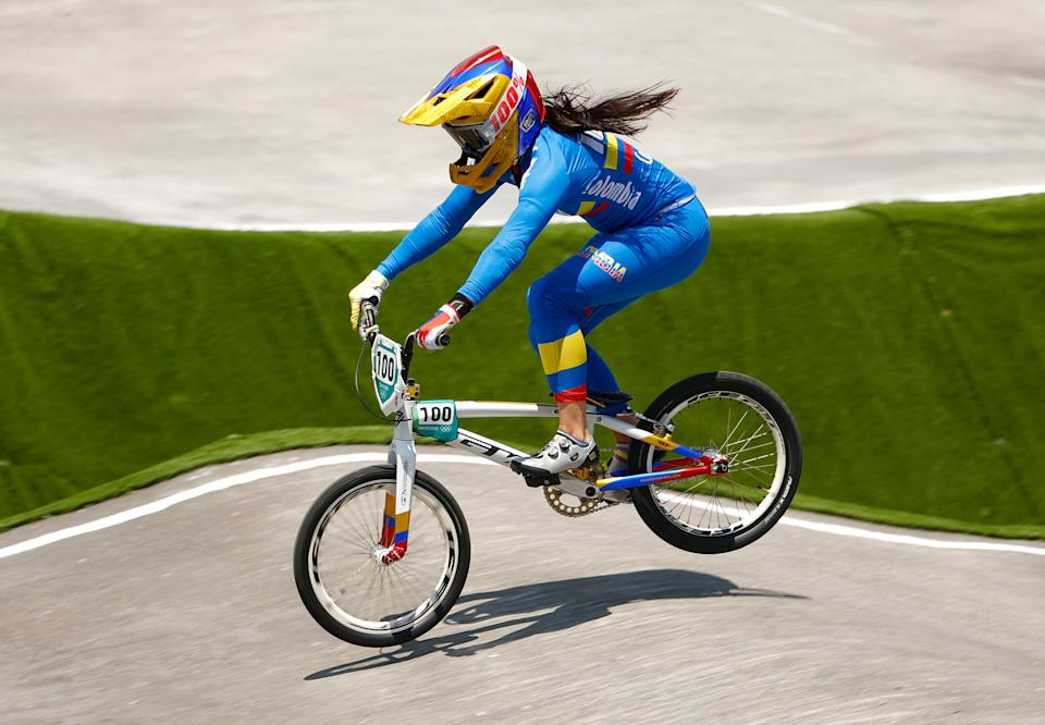 TOKYO, Japan - July 29: Colombia's Mariana Bajon jumps into the women's BMX quarterfinal heat 1, running on Day 6 of the sixth edition of the 2020 Tokyo 2020 Olympics on July 29, 2021 in Tokyo.  Japan (Photo by Ezra Shah / Getty Images)