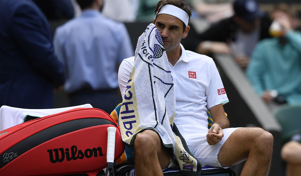 Federer was eliminated at Wimbledon.  Hargas insulted him in straight sets