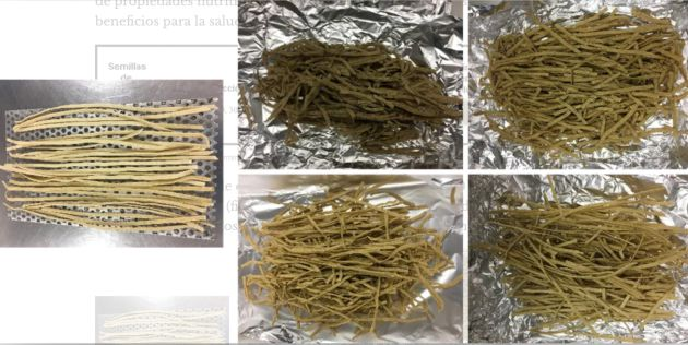 Dry pasta enriched with Moringa sprout powder.