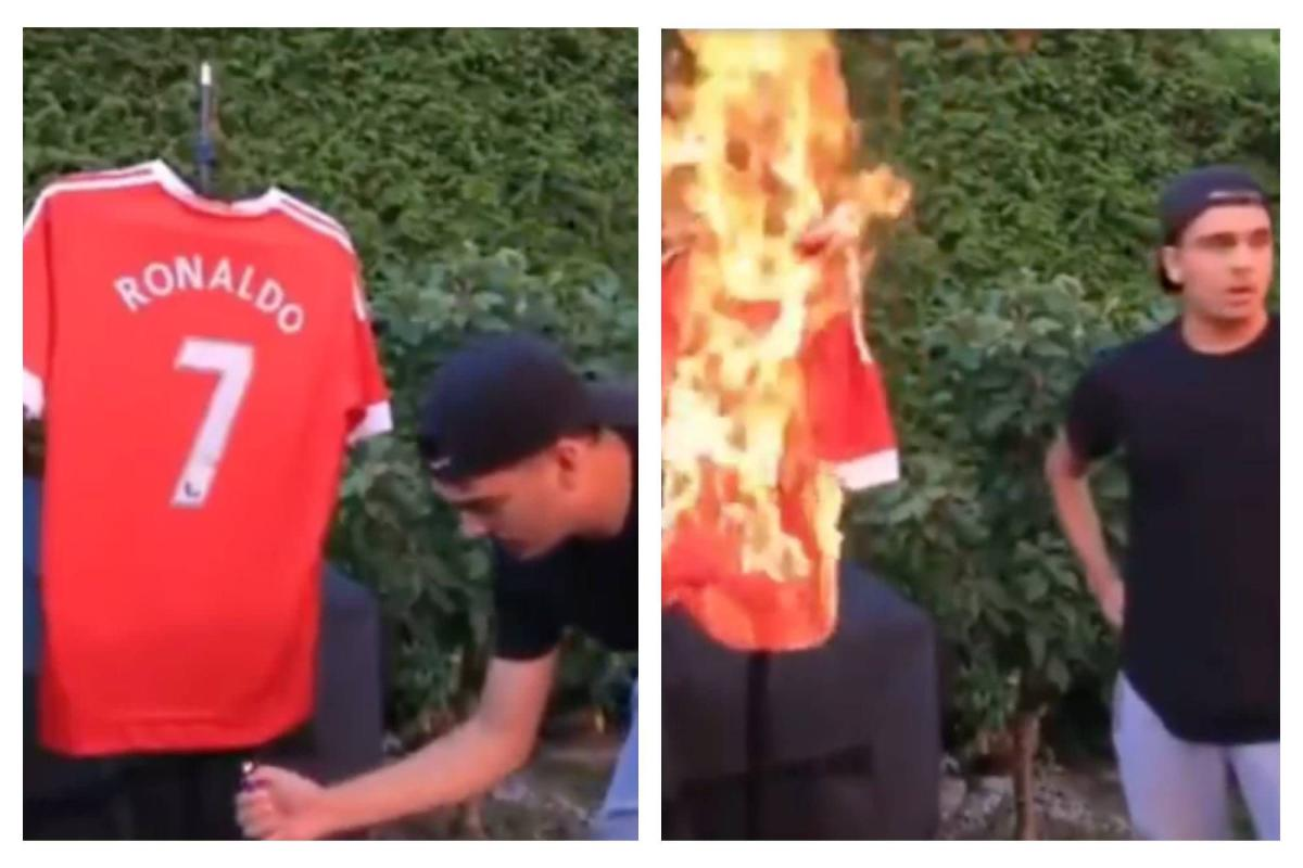A Manchester United fan believes Cristiano Ronaldo is heading to City and burns his shirt
