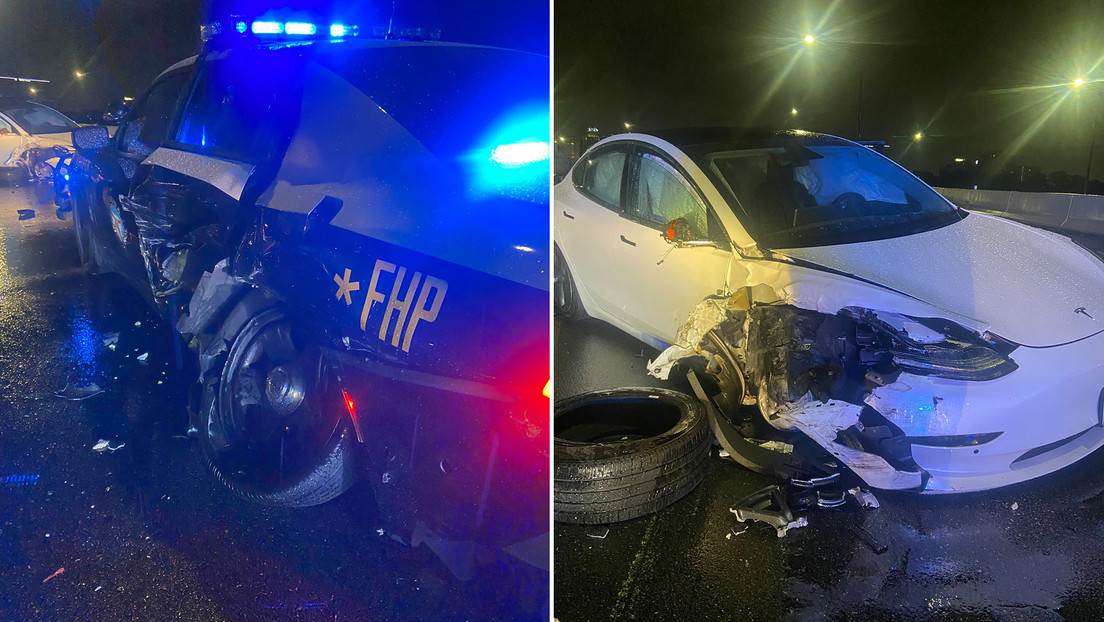 A Tesla police patrol car collided with an auto pilot and a private car stopped on a highway in the United States.