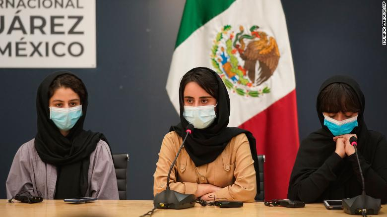 Members of the Afghan women's robotics team arrive in Mexico
