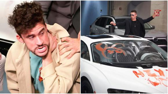 Miss and John Morrison damaged Bad Bunny's sports car.  (Video: WWE)