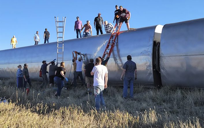 At least three people were killed and more than 50 were injured when an Amtrak train derailed in Montana.